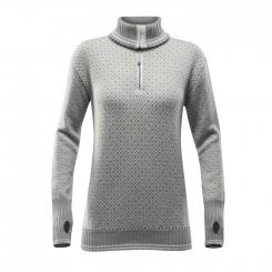 Damen Slogen Zip Neck Wollpullover
