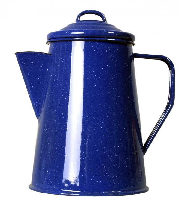 Emaille Kaffeekanne blau 1L